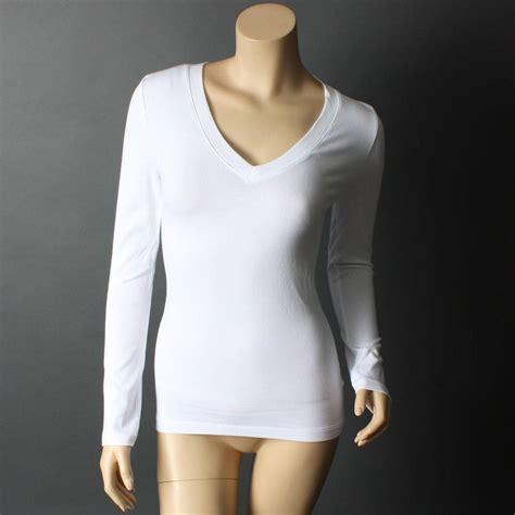 V Neck Basic Blouse White Neumor white casual plain basic sleeve v neck t shirt