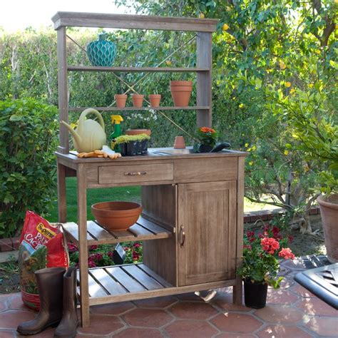 Garden Potting Bench Ideas To It Coral Coast Rustic Garden Storage Potting Bench Driftwood Finish 399 98