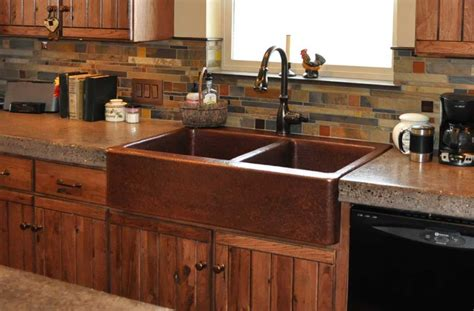 kitchen with copper sink farm front kitchen sinks mountain copper creations