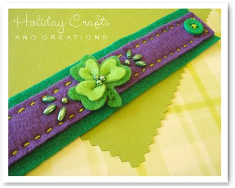crafts and creations sewing projects felt shamrock bracelet