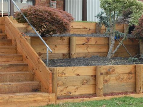 Sleeper Retaining Wall Cost by Railroad Sleeper As Retaining Wall Retaining Walls