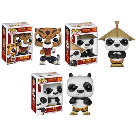 Murah Funko Pop Kung Fu Panda Po With Hat Figure funko pop kung fu panda vinyl figures set of 3 po tigress po with hat bbtoystore