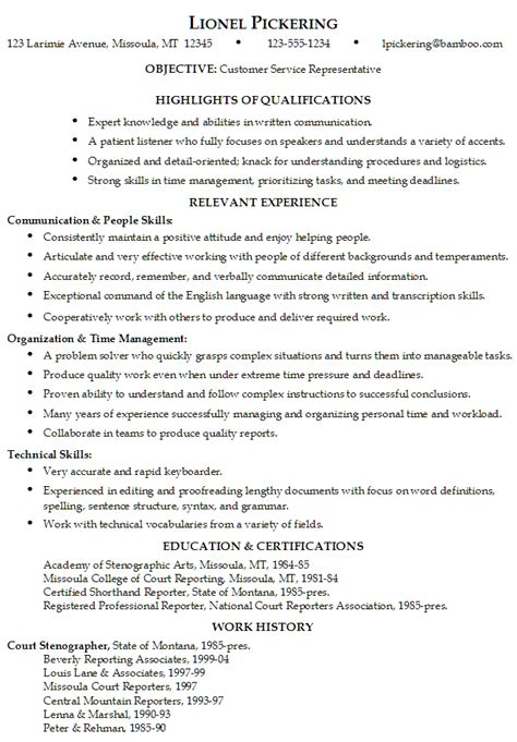 Resume Headline Exles For Customer Service 12 Customer Service Representative Resume Sle Writing Resume Sle Writing Resume Sle