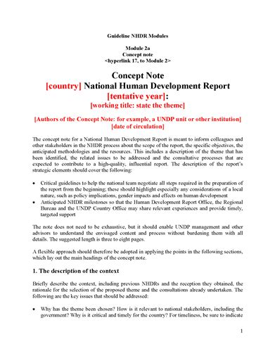 national human development report concept note template