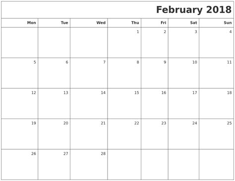 printable calendar monday start 2018 february calendar printable coloring pages