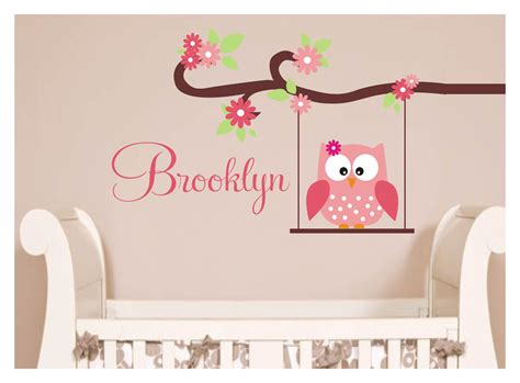 Owl Nursery Wall Decals Owl Decal Monogram Childrens Wall Decals By Justthefrosting