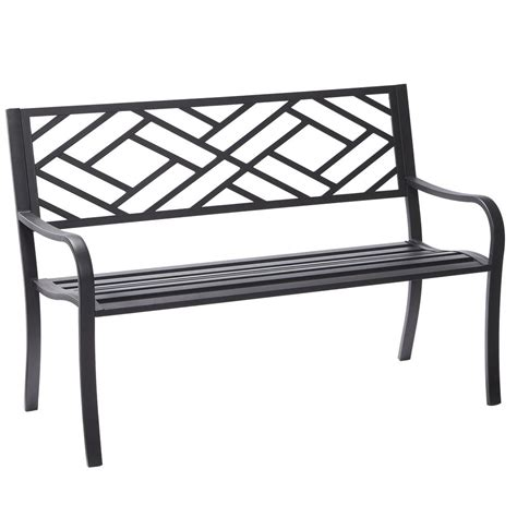 black outdoor bench hton bay easterly steel black outdoor bench hd17590