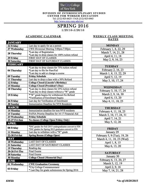 City College Calendar Academic Calendar The City College Of New York