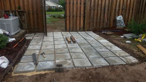 Concrete Pavers Were Cheap And Have Texture On Top Later Staining Patio Pavers