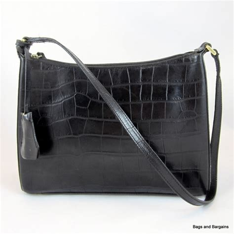 Fossil Vri Tote Croco 1 fossil 1954 black croc embossed patent leather shoulder