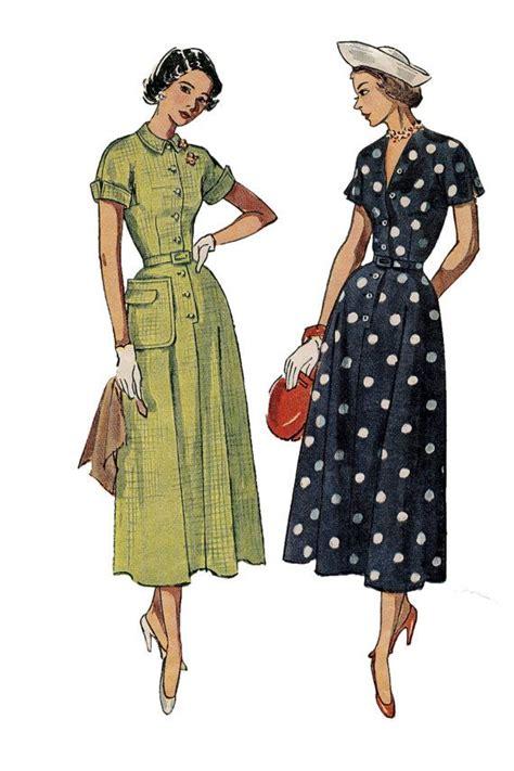 pattern of kimono sleeve 1940s simplicity 2903 button front shirtwaist dress