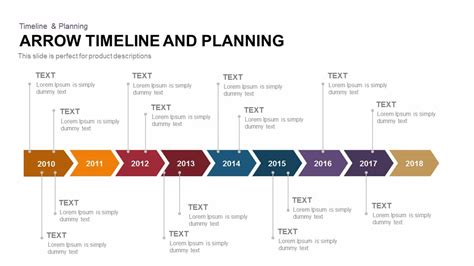 arrow timeline and planning powerpoint and keynote