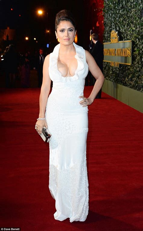Salmah Dress by Salma Hayek Wears Cleavage Enhancing Gown At Evening