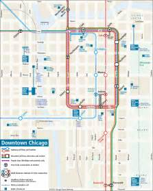 chicago map with transit downtown chicago rail transit map