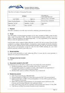 Standard Of Operating Procedures Template by 11 Standard Operating Procedure Template Word