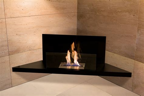bioethanol fireplace corner flame steel black glass