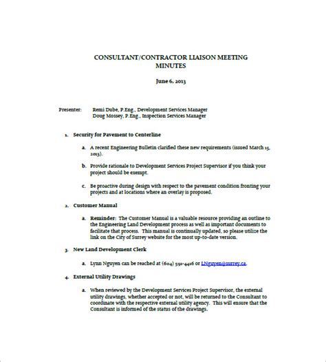 construction meeting minutes templates 10 free sle