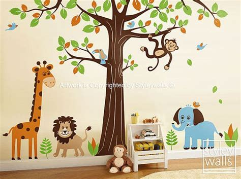 jungle wall decal safari animals wall decal set tree wall decal elephant monkey