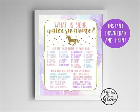printable unicorn names unicorn name game unicorn party game printable