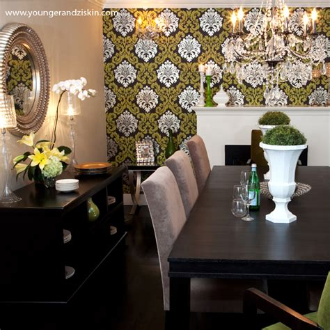 wallpaper accent wall dining room wallpapered accent wall contemporary dining room svz