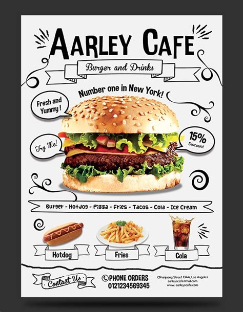doodle food combination 27 restaurant menu templates with creative designs
