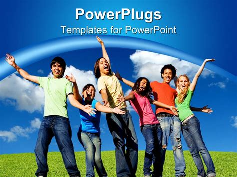 youth powerpoint themes powerpoint template smiling group of young people belong