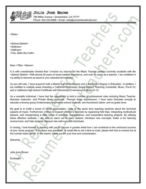 cover letter for teachers exles cover letter sle covering letter exle