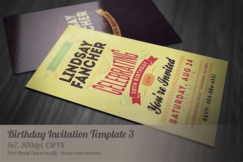 Creative Invitation Cards Templates by Retro Birthday Invitation 3 Invitation Templates On