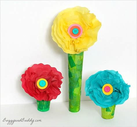 Arts And Crafts Tissue Paper Flowers - tissue paper and cardboard flower craft flower