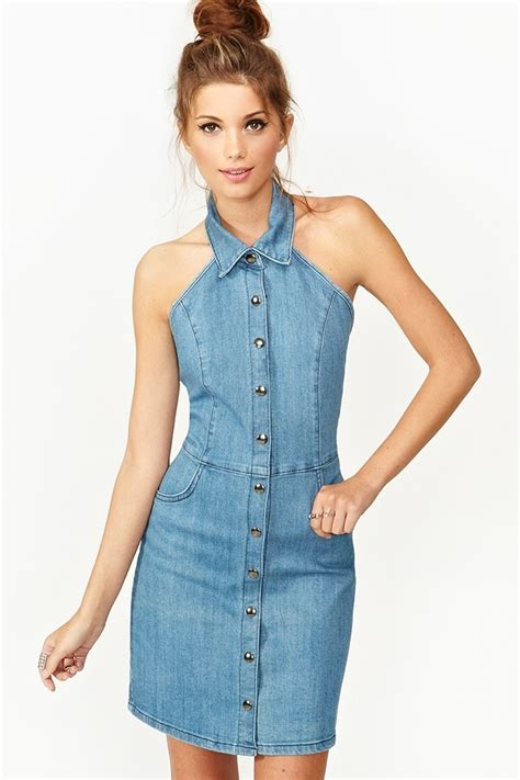 Dress Denim denim halter dress denim dress