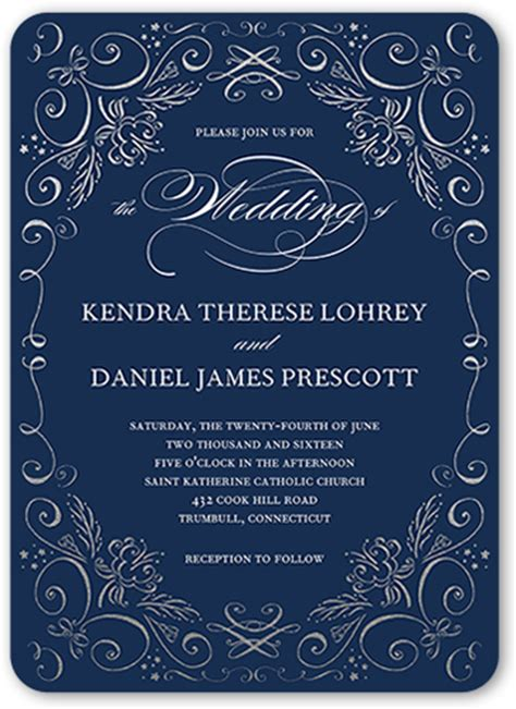 navy blue wedding invitations shutterfly
