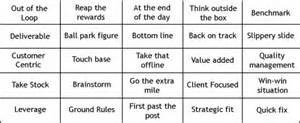 buzz word bingo play it and win management for the