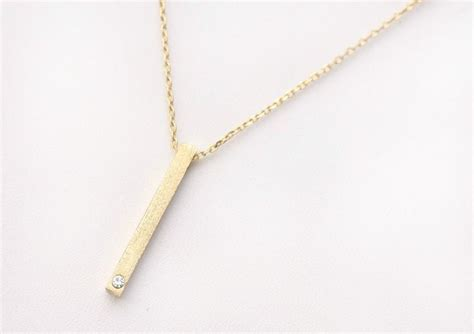 tiny vertical bar and necklace 14k gold filled