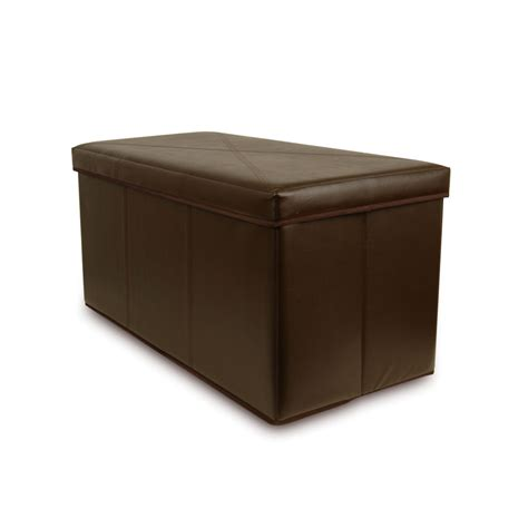 Leather Storage Ottoman Bench Collapsible Faux Leather Storage Ottoman Bench Brown Ebay