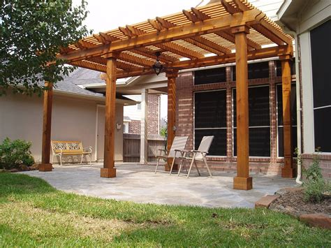mahogany pergola deck roof cover with simple furniture in