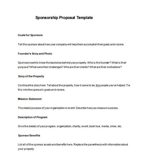 sponsorship card templates charity sponsorship template 16 free word excel pdf