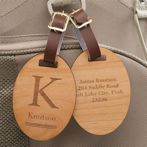 11937 classic monogram personalized wood bag tag