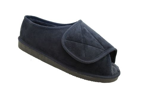 mens slippers wide fit mens wide fitting velcro memory foam insole