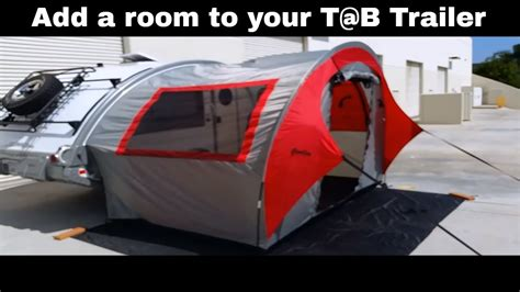 add a room for pop up cer t b side tent this ingenious tent adds space to your tab trailer setup