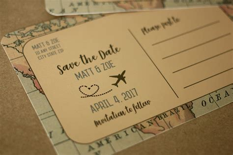 Postcard Style Save The Dates travel themed postcard save the date vintage style save