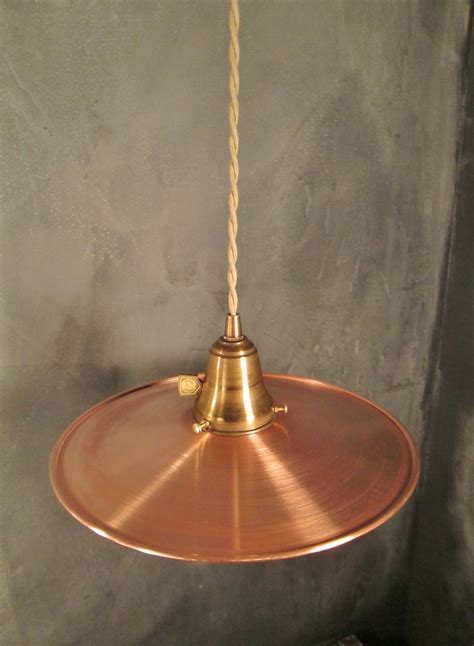 Industrial Pendant Light With Flat Copper Shade On Storenvy Copper Pendant Light Shades