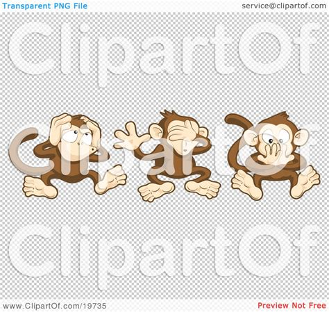 clipart illustration of the three wise monkeys mizaru