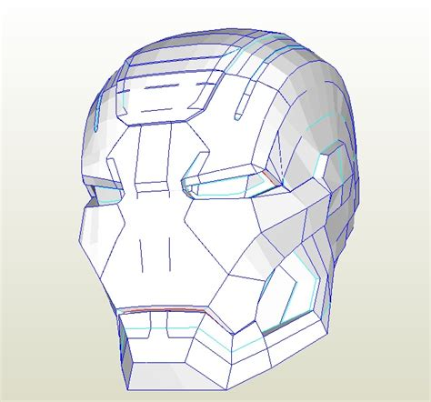 Ironman Helmet Papercraft - iron patriot war machine 2 pepakura file by gimpe on