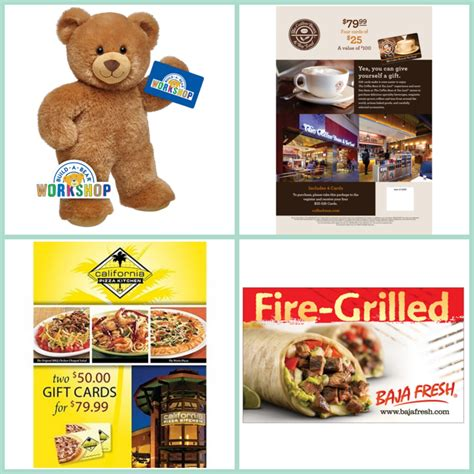 Costco Gift Cards California - costco members save 20 on gift cards to baja fresh build a bear california pizza