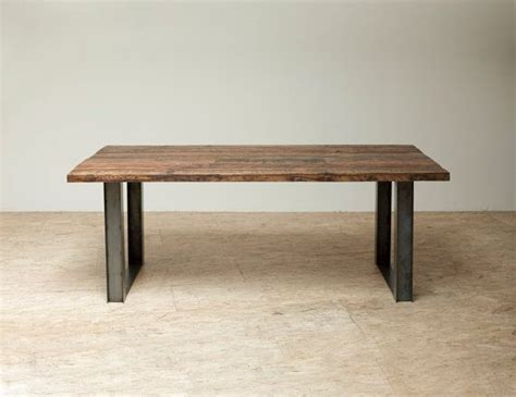 wood and iron dining table bold modern reclaimed iron wood mt dining