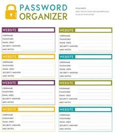 username and password template free printable password organizer a k a printable