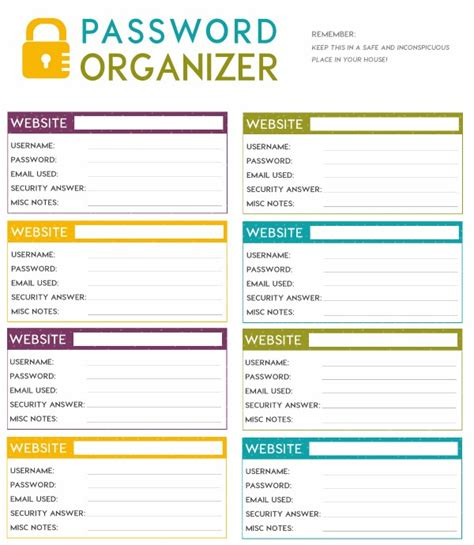 password manager spreadsheet template free printable password organizer a k a printable