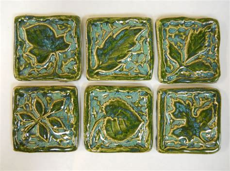 Handmade Glass Tile - handmade ceramic tiles decorative leaf patterns sea