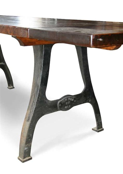 urban farm table with industrial machine legs and
