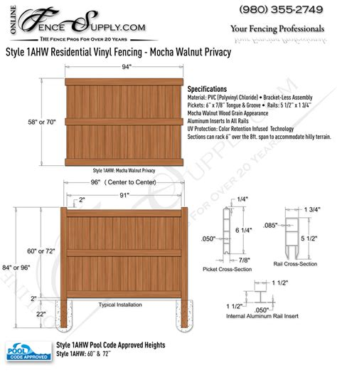 vinyl fence sections style 1ahw residential vinyl mocha walnut privacy fence